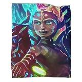 Manta de felpa suave de Star Wars The Mandalorian Ahsoka Tano - Manta de verano para sofá (100 x 130 cm)