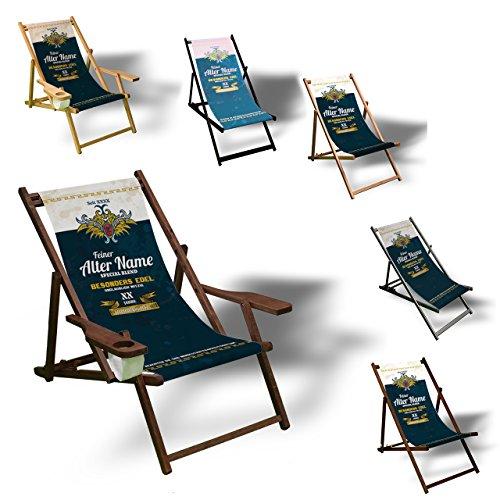 Printalio - Wunschtext - Geburtstag Männer - Liegestuhl Bedruckt Balkon Garten Sonnenliege Relax Holz Terrasse | mit Armlehne, Dunkelbraun