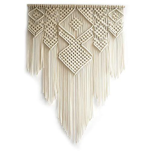 YeBetter Tapiz de macramé bohemio para colgar en la pared, elegante arte geométrico artesanías tejida para decoración del hogar sala de estar