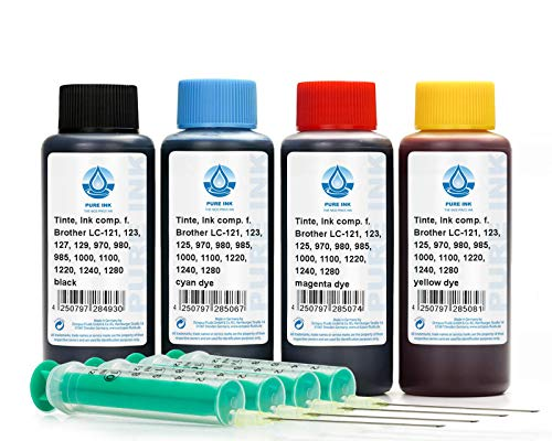 PureInk 4 x 100 ml de Tinta de Recambio, Tinta de Impresora Compatible con Brother LC-121, LC-123, LC-125, LC-127, LC-129, LC-900, LC-970, LC-980, LC-985, LC-1000, LC-1100, LC-1220, LC-1240, LC-1280