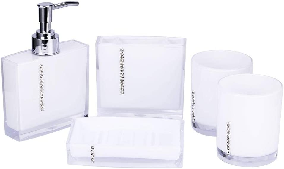 ROBTLE Bathroom Accessory Fashion gift 5 Piece Set AcrylicGift Toothbrus