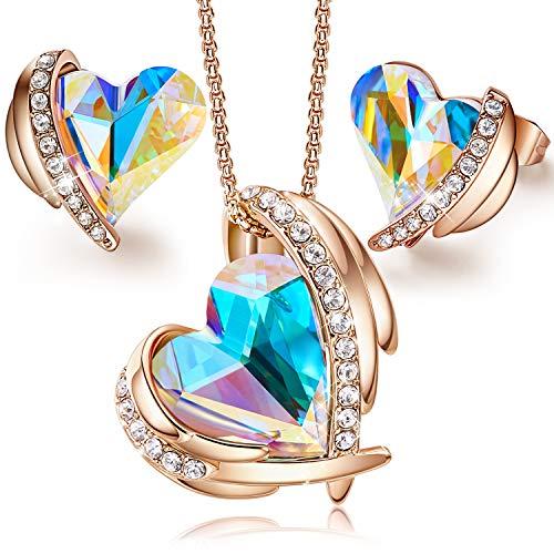 CDE Schmuckset Damen Halskette Ohrringe Kette Set, Schmuck mit Embellished with Crystals from Swarovski mit Geschenkbox, ldeal Weihnachten Geburtstagsgeschenk¡