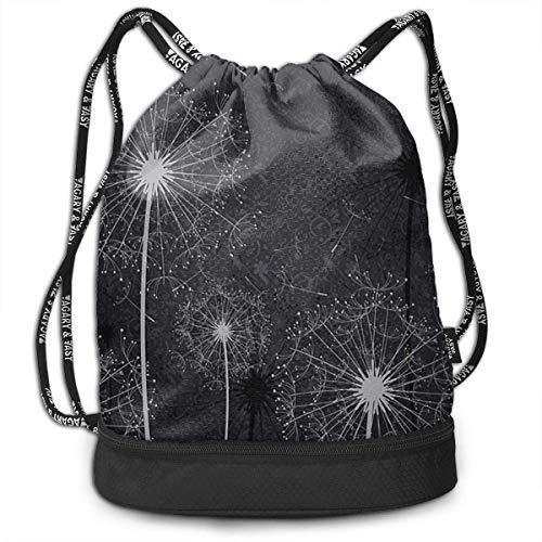 sunminey Turnbeutel Daypacks Lightweight Waterproof Large Storage Drawstring Bag for Men Women Black White Dandelion Cinch Backpack Sackpack Tote Sack
