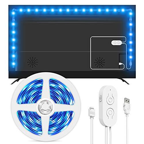 Lumary - Tira de luces LED para TV de 46-60 pulgadas (5050, intensidad regulable, 9 modos de escena, iluminación de ambiente, tiras LED), Blanco