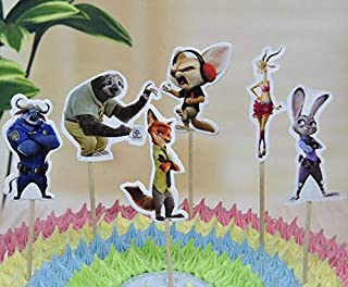 24x Cupcake Topper Picks – Zootopia Themed Cupcake Toppers For Kids Party