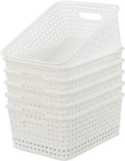 Kiddream 6-pack Plastic Weave Rattan Basket for Kitchen Office Storage, White