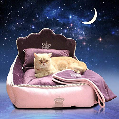 WXPC Haustierbett Mit Kissen Decke Prinzessin Hundebett Katzenbett Matte Sofa Hundehaus Nest Schlafkissen Zwinger @ L