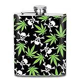 NYTLIKMA Marijuana Weed Skull Crossbones Flask 7 Oz Hip Stainless Steel Flasks for Women,Alcohol Whiskey Rum Vodka Flask,Gifts for Women Men