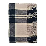 100% New Zealand Wool Blanket, Blackcurrant Tart, Black and White, Perfect for Home and Outdoors, Twin Size
