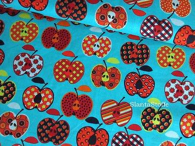 Breite 145 cm grün Baumwollstoff blau Stoff Äpfel