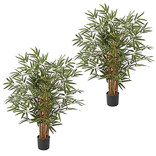 Bambus Kunstpflanze Kunstbaum Künstliche Zimmerpflanze mit Echtholzstamm, Balkon Terrasse Sichtschutz Bambus, Höhe: 3 Feet/91CM 2 Stück