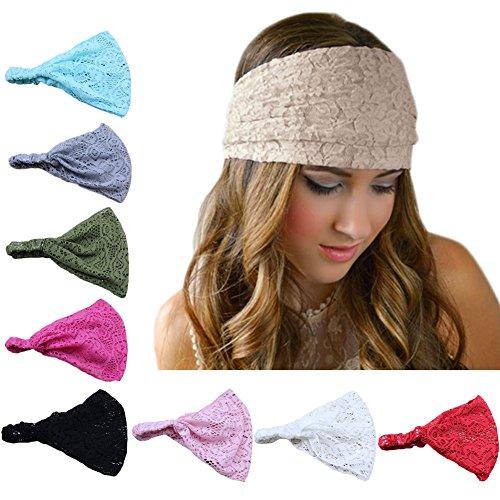 DRESHOW 8 Pieces Women Fashion Lace Elastic Head Wrap Turban Head Band Hair Accessories, 8 Pack...