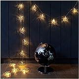 RTUTUR Luces de Vacaciones de Cuerda de luz de Metal, lámpara Decorativa Cadena Estrella de Hadas de Rosa de Oro de la batería geométrica.