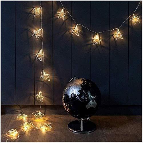 RTUTUR Metal Light String Holiday Lights, Decorative Lamp String Fairy Star Rose Gold Geometric Battery Power.