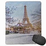 Bench Street Street Torre Eiffel Carrusel Vintage en París Vacaciones de Invierno Vista del carrusel Diseño Alfombrilla de ratón Alfombrilla de ratón Linda Base de Goma Alfombrilla de ratón con Borde