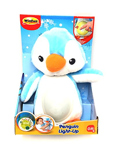 WinFun- Amigo Pingüino con Canción de Cuna y Luces, Color azul (CPA Toy Group 160) , color/modelo surtido