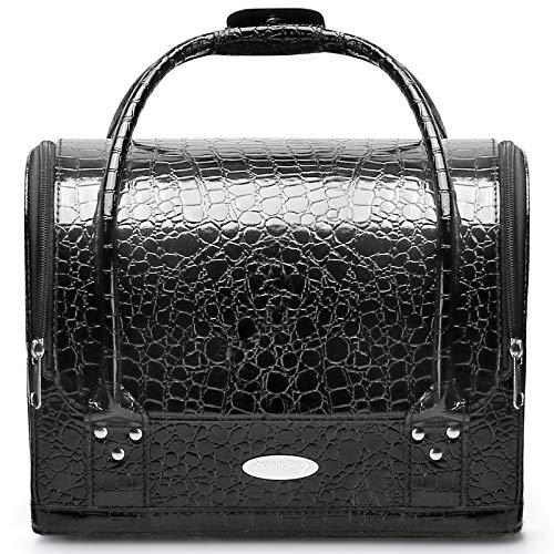 Makeup Train Cosmetic Case Large Portable 2-Layer Double Open Fashion Organizer Bag with Detachable Shoulder Strap and Travel Box Crocodile Leather Texture Design Black