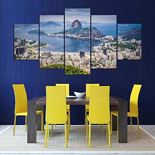 RZYLYHH 5 Panel Painting Wandposter Wandkunst Leinwandmalerei Rio de Janeiro, Brasilien malerei Hintergrund Dekoration für Wohnzimmer Home