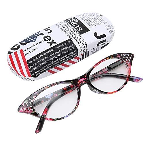 Lesebrille, modische Unisex-Strass-Dekoration, klare Brillengläser, Blendschutzfilter Leichte Brille mit rot gestreiften Rahmen und Stroage-Etui(+2.0)