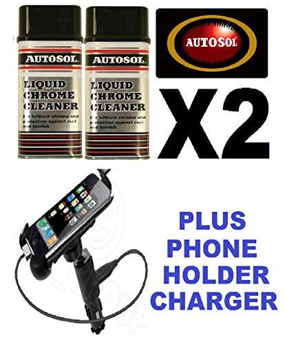 2 x 250 ml Liquid Solvol Autosol Chrome Ali & Metal Polish & Mobile Phone Holder / Cargador de teléfono móvil