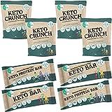 Go-Keto Trial Pack - 2x Keto Bar, 2x Protein Bar, 4x Keto Crunch (40g cada una) | con proteína de guisante, almendras, aceite de coco, semillas de calabaza, cacao | perfecto para la dieta keto, vegano