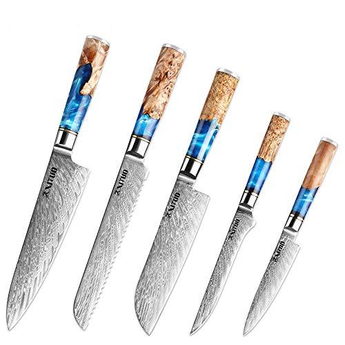 XITUO Kitchen Chef Knife Set 5 Piece 8#039#039 Chef Knife  75#039#039 Bread Knife 7#039#039Santoku knife Damascus SteelVG10 Blue Resin Wood Handle Gift Box  w/knife Sheath 5PC Chef Knife Set
