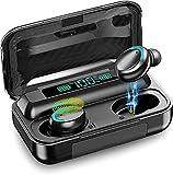 Auriculares Bluetooth 5.0 con Pantalla LED, Auriculares inalámbricos con micrófono, Auriculares TWS Impermeables IPX8, Sonido estéreo Hi-FI de Graves Profundos, Control táctil, para iPhone/Android
