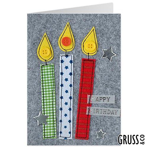 Grußkarte Filz - Kerzen - Geldgeschenk - 24