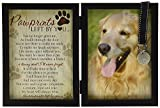 A folding picture frame with a Golden Retriever in the picture