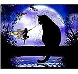 WACYDSD Puzzle 1000 Piezas Gato Negro Gato Y Mariposa Hada Stick Draw Classic Puzzle 3D Puzzle Kit Juguete De Madera Decoración para El Hogar
