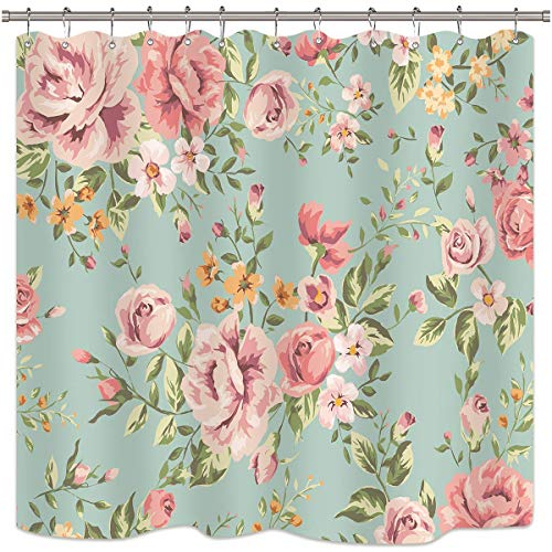 Riyidecor Pink Flower Shower Curtain Floral Blooming Girly Green Leaves Rustic Colourful Retro Woman Rose Waterproof Fabric Bathroom Home Decor 12 Pack Shower Plastic Hooks 72x72 Inch