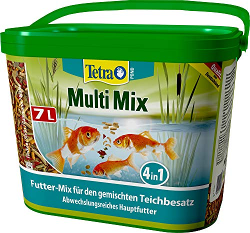 Tetra Pond Multi Mix - Fischfutter für gemischten Teichbesatz, enthält vier verschiedenen Futtersorten (Flockenfutter, Futtersticks, Gammarus, Wafer), 7 Liter
