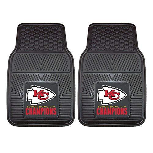 FANMATS Kansas City Chiefs Super Bowl LIV Champions 2-teiliges strapazierfähiges Vinyl-Auto-Fußmatten-Set (27181)