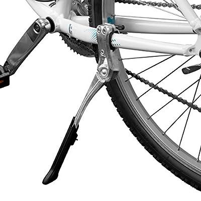 "BV Bike Kickstand - Alloy Adjustable Height Rear Side Bicycle Kick Stand, for 24"" - 28"" Mountain Bike/Road Bike/BMX/MTB (Silver)"