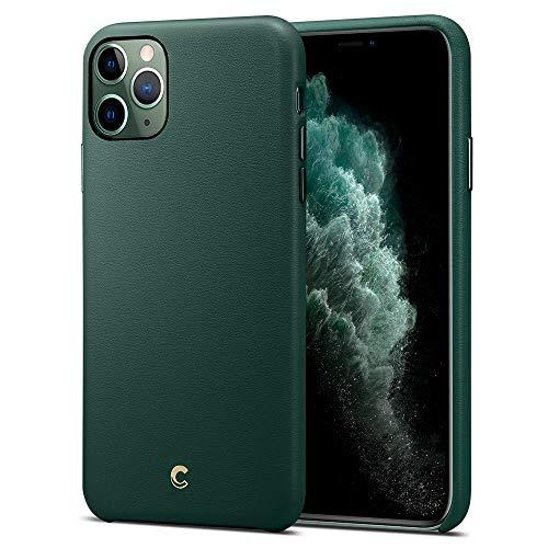 CYRILL [Premium Kunstleder kompatibel mit iPhone 11 Pro Hülle (5,8 Zoll) umweltfre&liches Leder für iPhone 11 Pro Hülle innere Kissen mit Mikrofaser (077CS27270) - Waldgrün