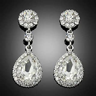 Fashion Clear Crystal Rhinestone Wedding Bridal Water drop Dangle Lady Earring