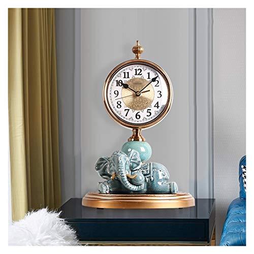 hongbanlemp Escritorio Reloj Cerámica Creativa Cerámica Cerámica Reloj Números árabes Silent Table Reloj Sweep Segundo Movimiento Reloj de Escritorio Batería Powered (Blanco/Azul) Reloj Sobremesa