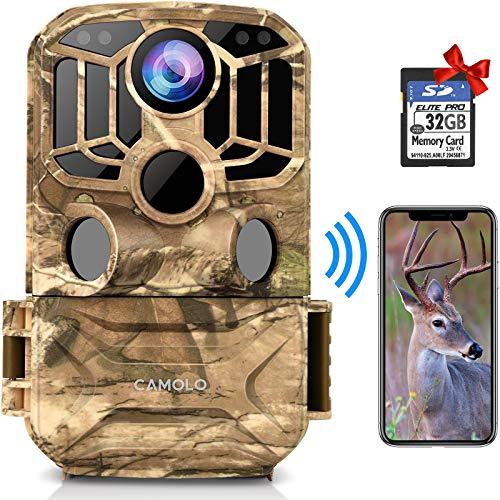 CAMOLO WLAN Wildkamera 24MP 1296P mit 32 GB SD-Karte, Wildkamera mit Bewegungsmelder Nachtsicht 140 ° Weitwinkel IP67 wasserdichte Wildtierkamera für Wildlife Monitoring und Home Security