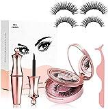Geezo Lot de 2 eyeliner et cils magnétiques avec faux cils magnétiques et pince à épiler - Pas de colle nécessaire