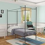 WeeHom Metal Framed Canopy 4 Poster Platform Bed Frame Sturdy Steel Platform Bed Best for Adults Kids Black Twin