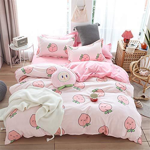 Meiju Bed Linen Set 3 Pieces, Fruit Printed Duvet Cover and 2 Pillowcases Microfibre Polyester Print Breathable Zip Design (Pretty Peach,150x200cm)