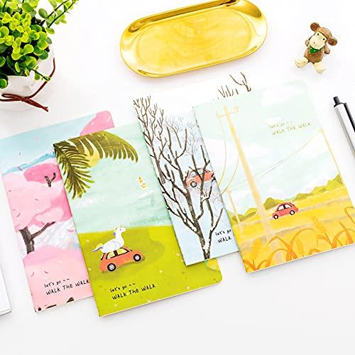 Gifts UK Four Seasons Hermoso Paisaje A5 Lindo Cuadernos Pictóricos Bloc de notas, Bloc de notas notas y campos de otoño