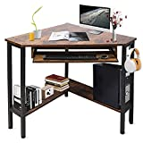 Cheflaud Corner Desk for Small Spaces, Triangle Computer Desk with Keyboard Tray, Corner Protector, Large Storage Shelves, Sturdy Steel Frame for Workstation, Living Room, Bedroom, Home Office