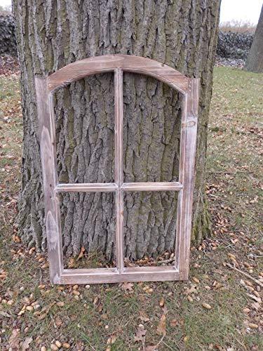 Stabiles, braunes Fenster Sprossenfenster Dekorahmen abgerundet Holz braun 77cm