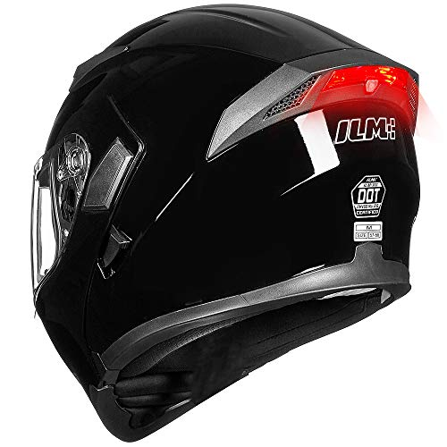 ILM Motorcycle Dual Visor Flip up Modular Full Face Helmet DOT LED Light (M, GLOSS BLACK - LED)