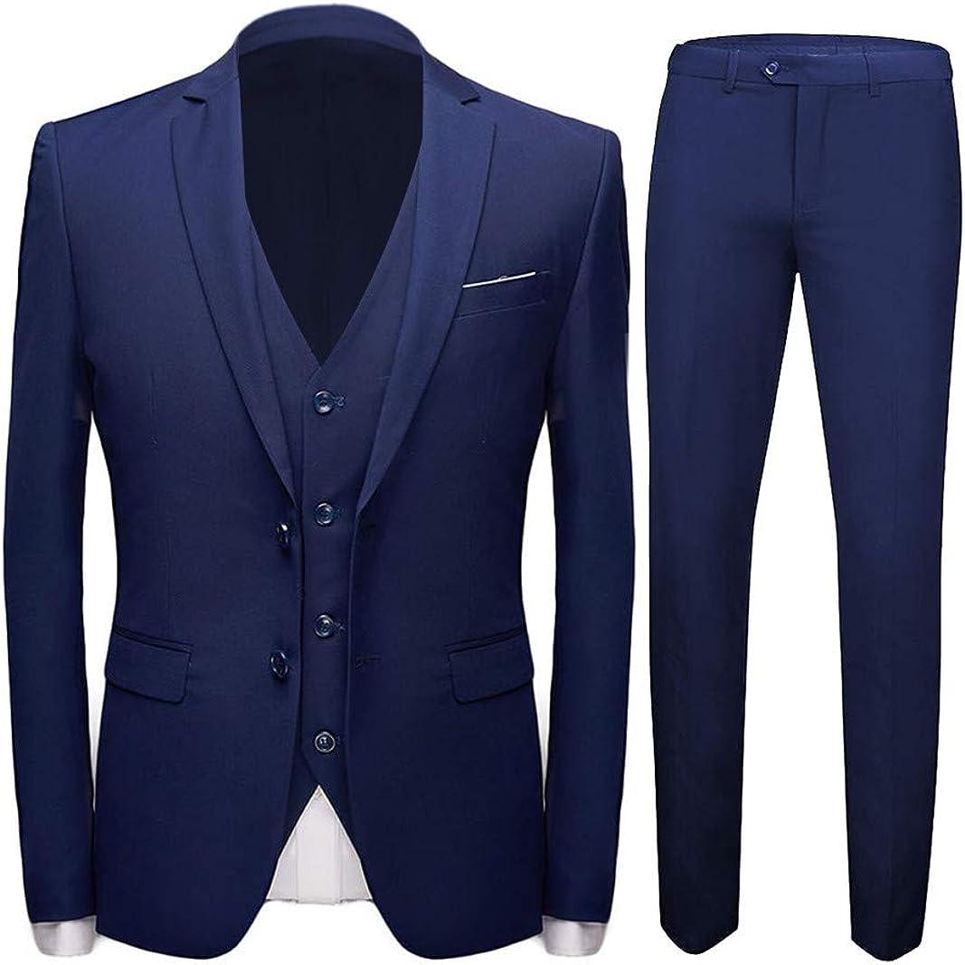 Slim Fit Men Suit 3 PCs(Jacket+Pants+Vest) Notch Lapel Blazer Wedding Grooms Tuxedo