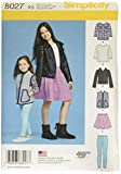 Simplicity 8027 Child's and Girl's Jacket, Tops, Skirts, and Leggings Sewing Patterns, Sizes 7-14