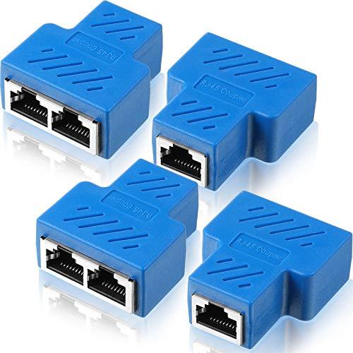 Connettori Splitter Ethernet Rj45 Connettori Splitter da 1 a 2 Connettore Ethernet LAN con Cavo Cat5 Cat6, Due Computer Possono Navigare in Internet Contemporaneamente (Blu, 4 Pezzi)