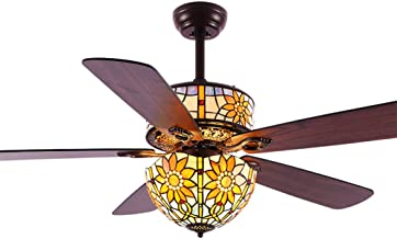 Tiffany Style Ceiling Fan Light with 5 Wooden Reversible Blades Remote Control Fan Chandelier for Bedroom Living Room Kitc...