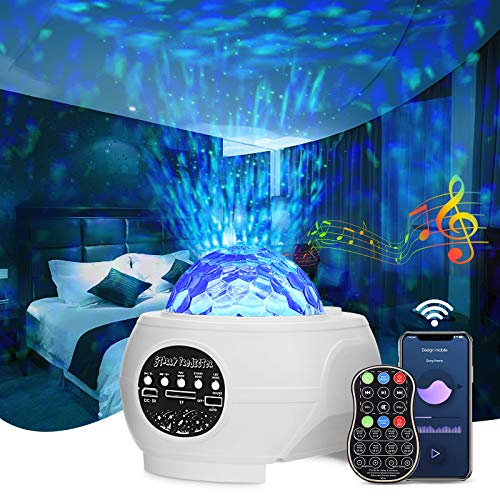LED Sternenhimmel Projektor, GLIME Nachtlicht Sternenhimmel Projektor mit Musik & Rotierende Wasserwellen/Sternen, Sternenlicht projektorlampe mit Fernbedienung & Wireless